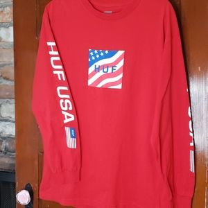 HUF USA Long Sleeve Tee Size Large